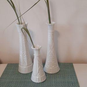 Vintage Milk Glass Vases-set of 3
